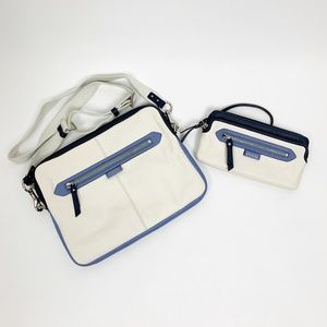 Coach Blue and Cream Crossbody Bag and Wristlet
